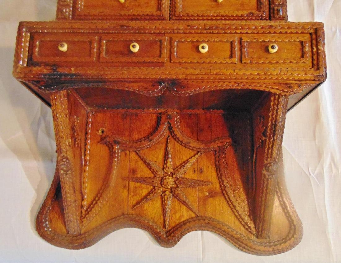 Folk Art Tramp Art Spice Cabinet - 9
