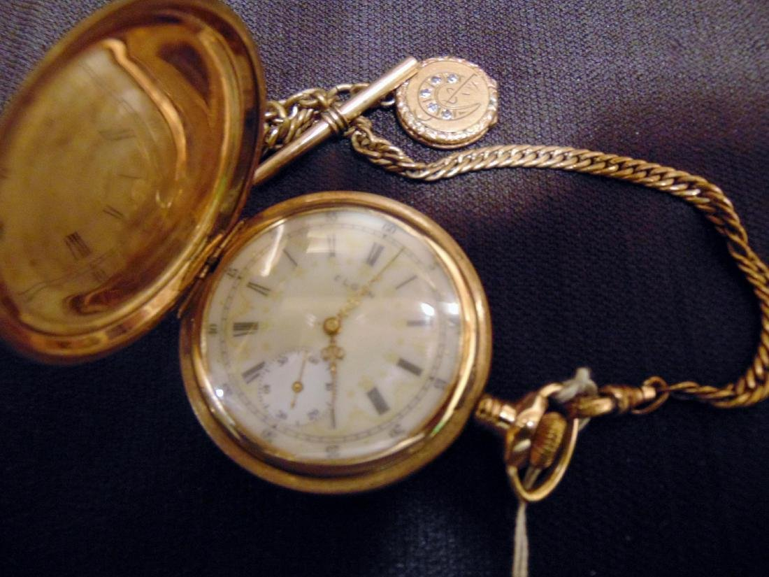 Elgin Heavy Rolled Gold Pocket Watch & Fob Chain - 2