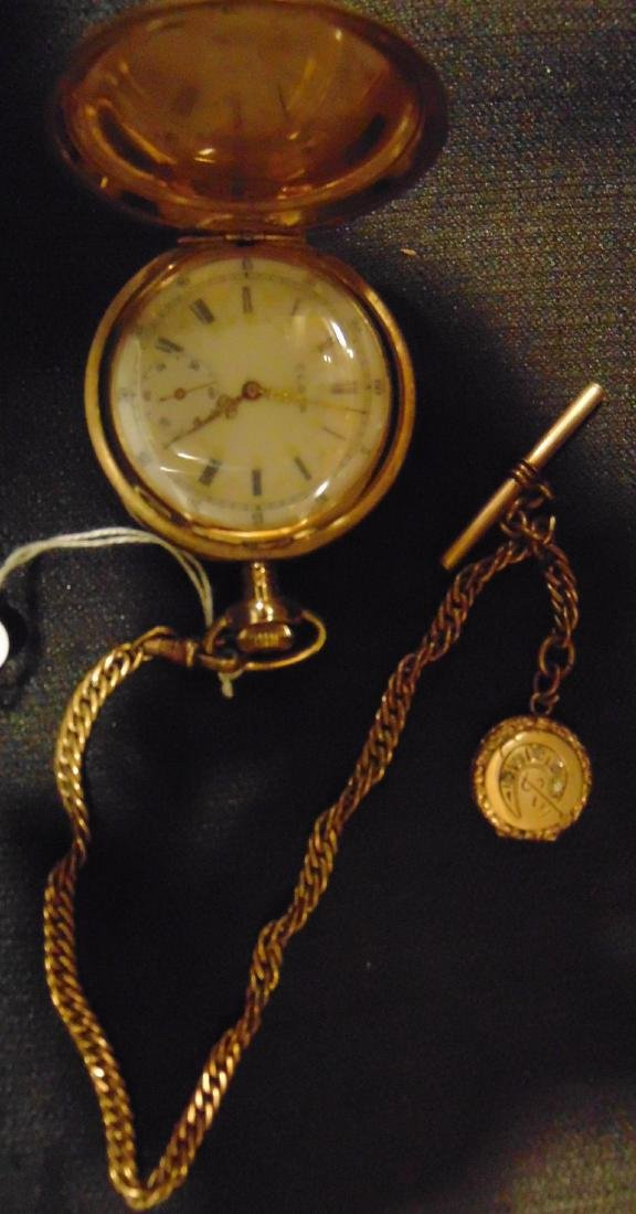 Elgin Heavy Rolled Gold Pocket Watch & Fob Chain - 3