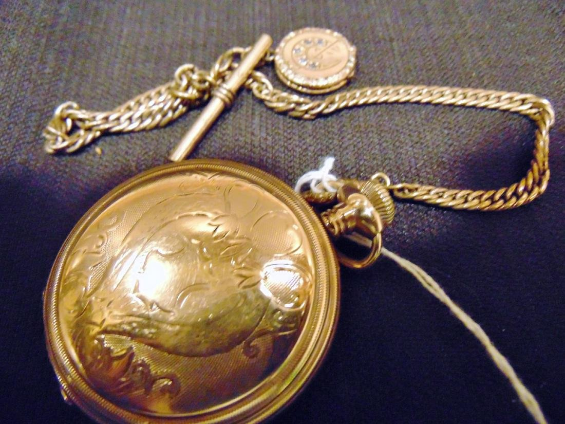 Elgin Heavy Rolled Gold Pocket Watch & Fob Chain - 4