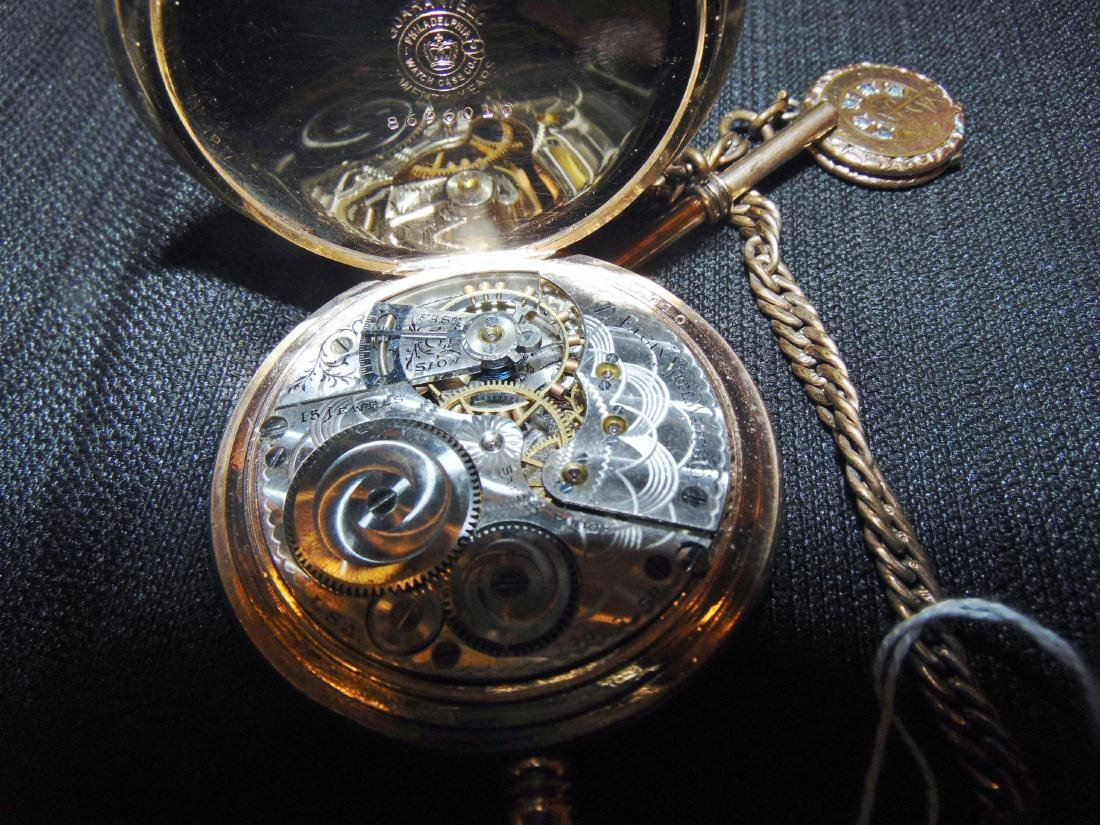 Elgin Heavy Rolled Gold Pocket Watch & Fob Chain - 6