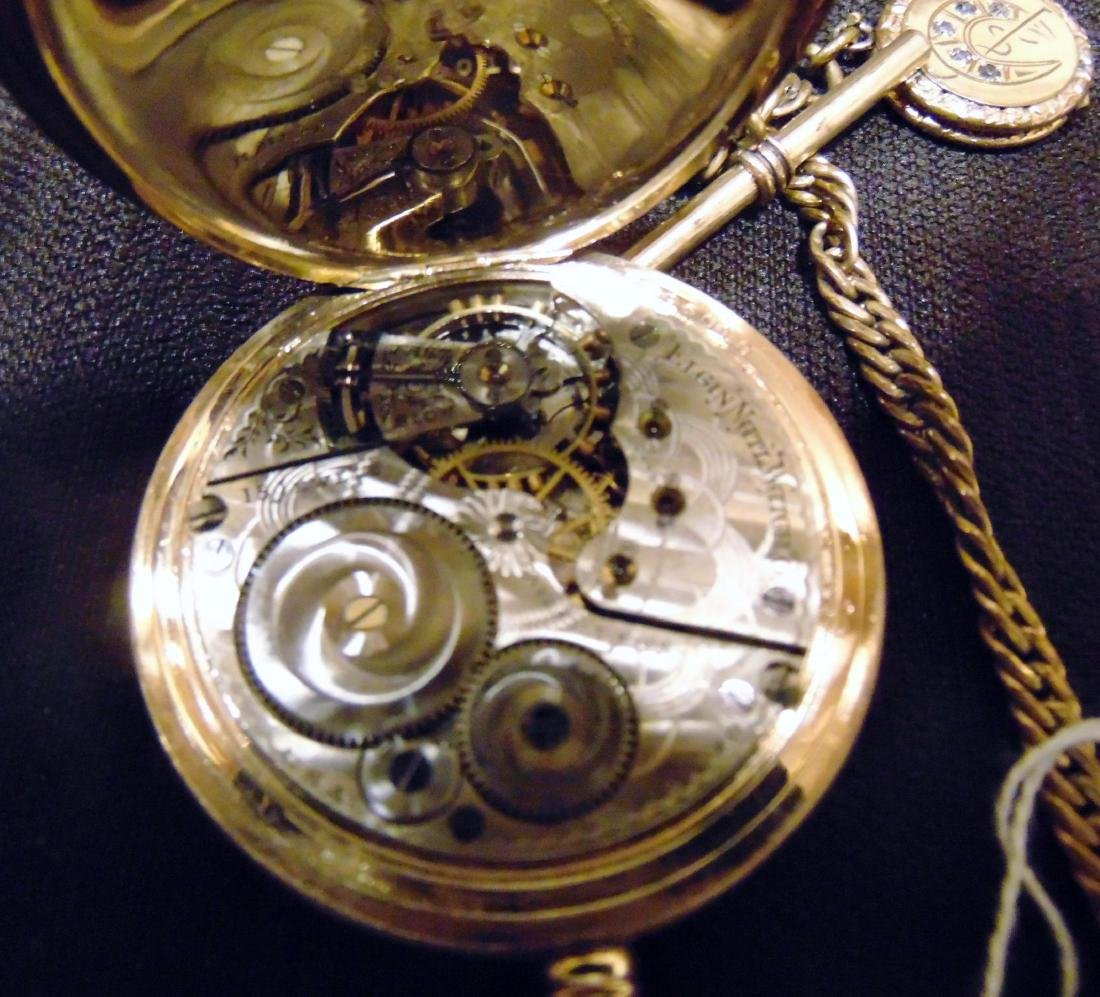 Elgin Heavy Rolled Gold Pocket Watch & Fob Chain - 7