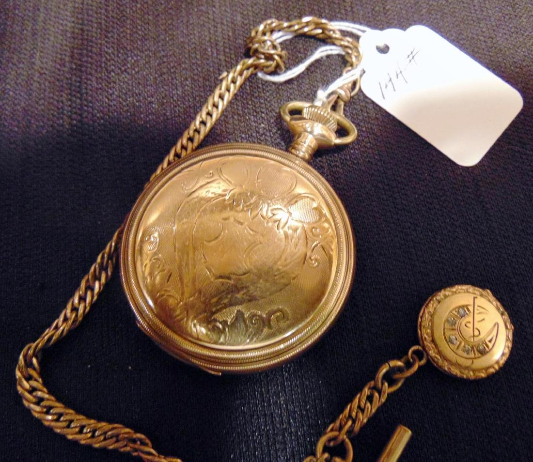 Elgin Heavy Rolled Gold Pocket Watch & Fob Chain - 8