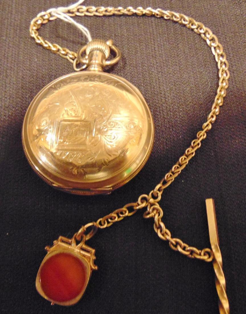 Elgin Heavy Rolled Gold Presentation Pocket Watch - 4