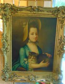 Circa 1820-1840 Oil on Canvas Young Beauty and Cat