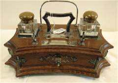 Antique English Oak and Silver Plate Inkwell Stand