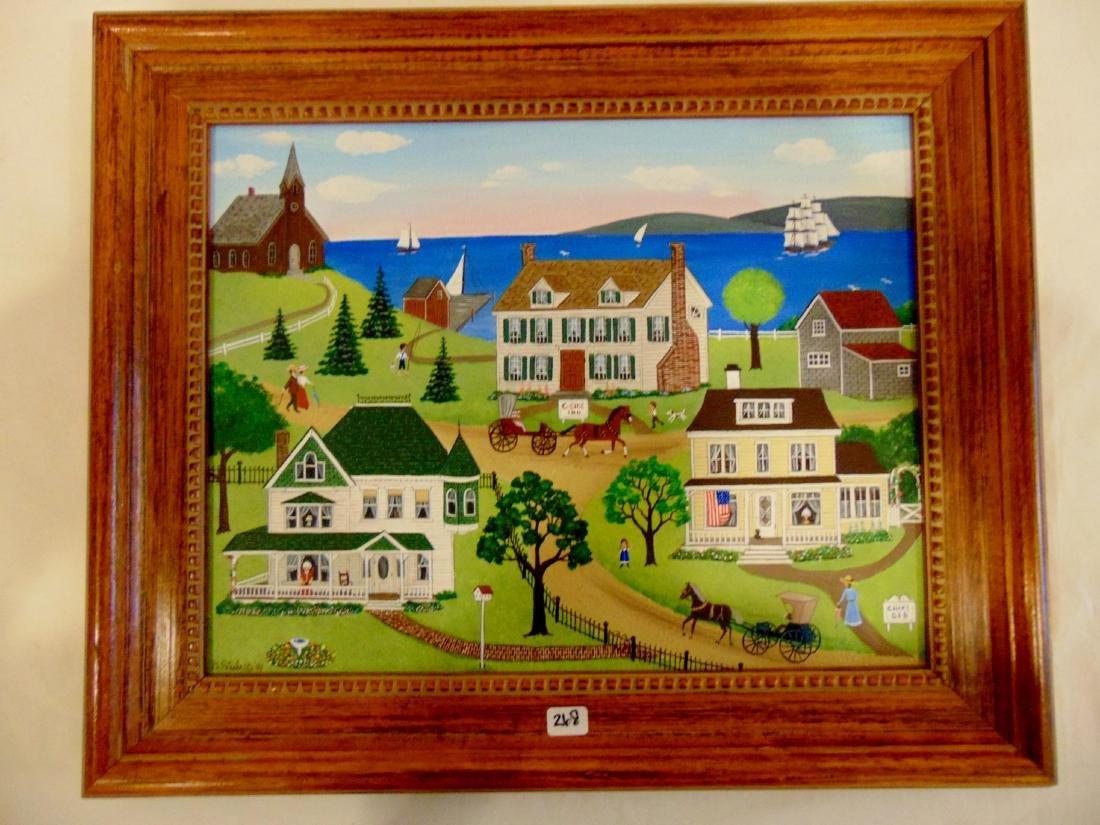 Barbara Steele Oil On Board Folk Art, Signed