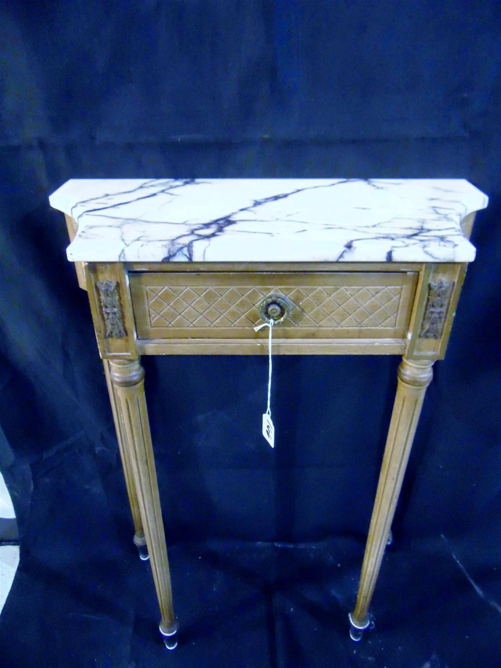 Louis XVI Carved Marble Top Console Table