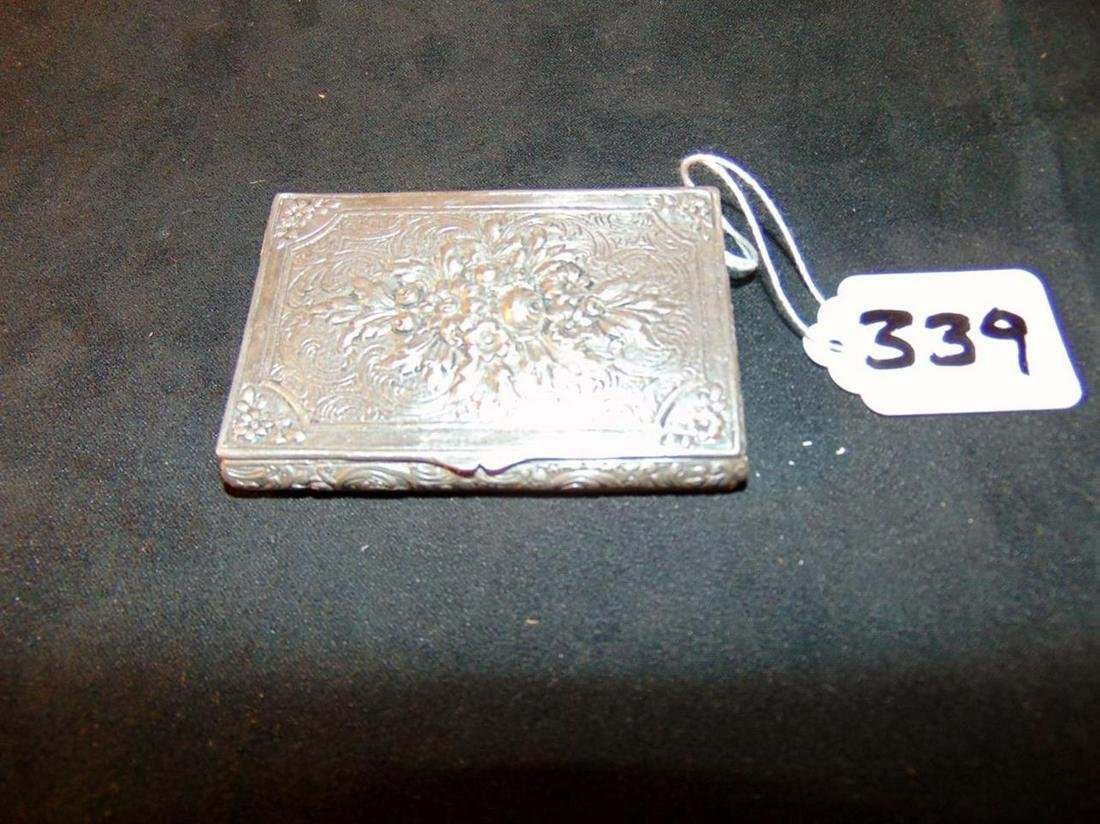 Sterling Silver Floral decorated Card Holder.