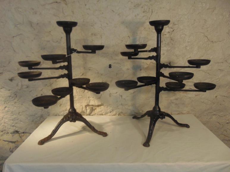 Cast Iron Geranium Stands, pair