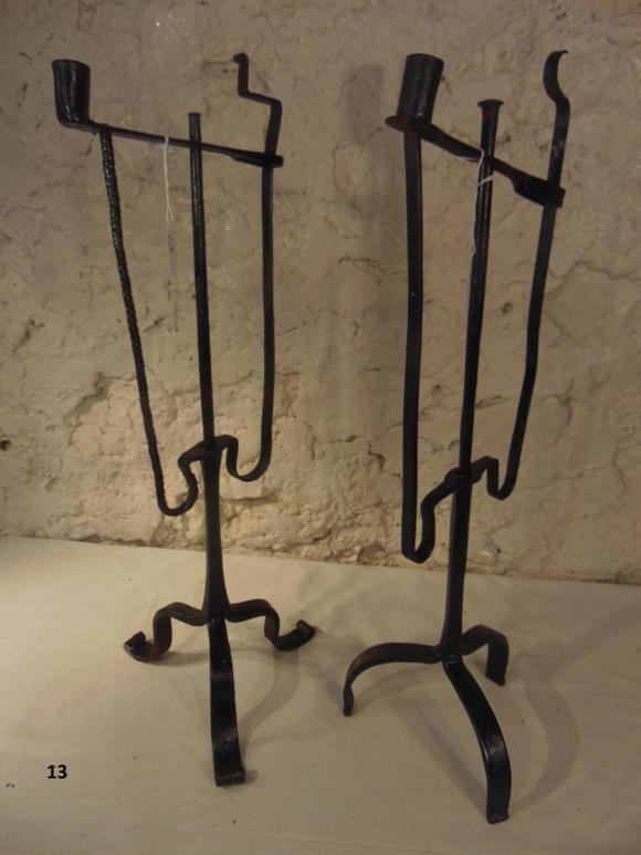 Hand Wrought 18th Century Iron Candle Sticks
