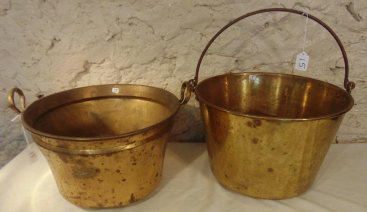 Brass Apple Butter Buckets, Pair