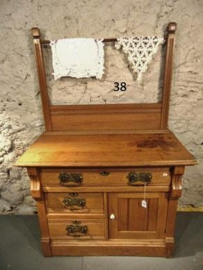 Oak 3 Drawer Commode with Back Splash and Towel Bar