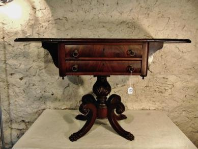 Federal Mahogany 2 Drawer Drop side Sofa Table with