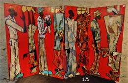 Michael Calloway 4-Panel Painted and Collaged Folding