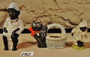 Miniature Figures; Black Boy, Girl, Cat (3)