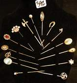Group of Victorian Gold filled Stick Pins
