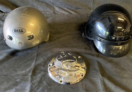2 motorcycle helmets (1 medium, 1 small) and Harley