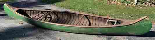 Handmade Early 1900's Wooden Canoe