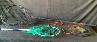 2 fishing nets and 1 metal fishing basket