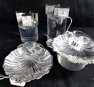 Group of Sterling Silver Shell Nut Dishes Matching