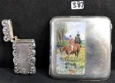 1920's 800 Silver Cigarette Case and Victorian Sterling