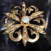 14K Gold Opal and Pearl BroochPendant c 1900