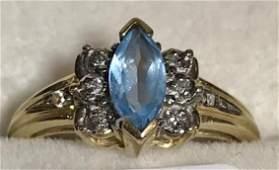 10K Gold Blue Topaz Ladies Ring w Diamonds