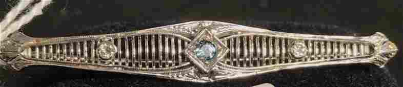 Art Deco 14K White Gold Bar Pin w Aquamarine and
