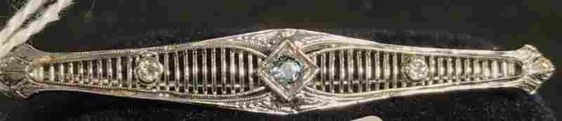 Art Deco 14K White Gold Bar Pin w/ Aquamarine and