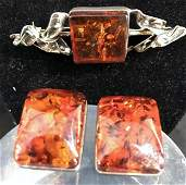 Sterling Silver Amber Brooch and Matching Clip Earrings