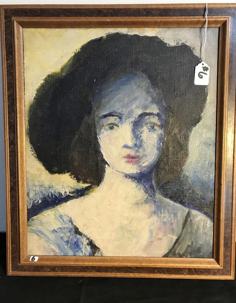 Expressionist Style Oil on Canvas Portrait of Woman
