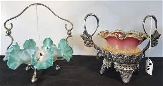 Victorian Art Glass Mini Bride's Bowl and Rare Barbour