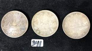 3 Rare Canadian Silver Dollars: 1955, 1938, and 1947