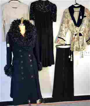Group of Vintage Clothing Includes 1960's Coat w/Fur