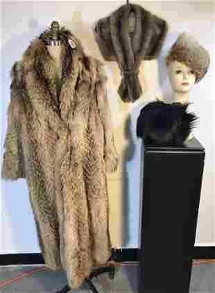 Group of Fur Vintage: Tanuki Japanese Raccoon Coat, Fur
