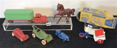 Group of Cast Iron Antique Tow Truck, Rubber Car