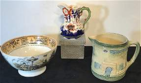 Group of Early Serving Pieces: Majolica Pitcher,