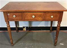3-Drawer Early Pine Work Table w/Turned Legs