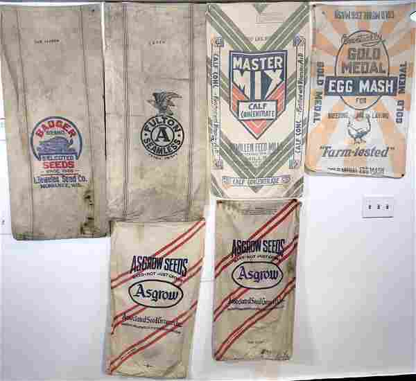Antique Group of Feed and Seed Sacks