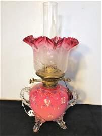 Wright & Butler Art Glass Oil Lamp c 1800