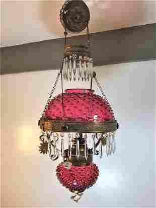 Rare Electrified Cranberry Hobnail Hanging Fixture