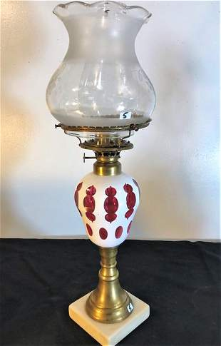 Early Bohemian Glass cut back Oil Lamp Circa 1880's