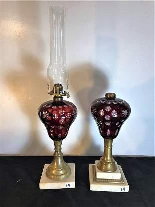 Pair of M B Company Pre Civil War Era Oil Lamps