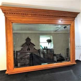 Large Bevelled Barber Shop Mirror in Mahogany frame
