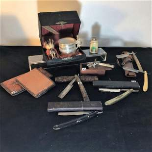 Group of antique straight razors and Men's