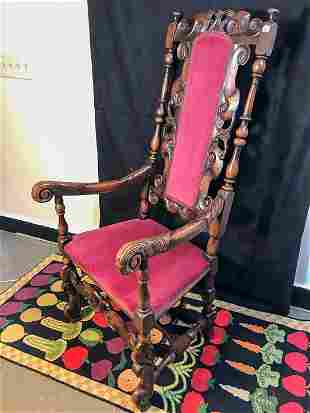 Early English Carved Mahogany Arm Chair