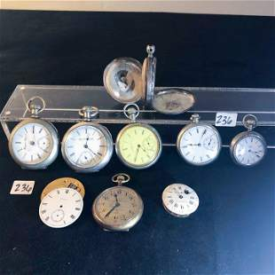 LOT Coin Silver Pocket watches includes Elgin,