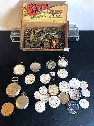 Huge lot of Pocket watch Movements, faces, Cases, and