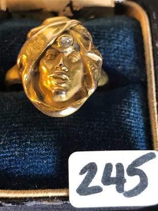 14K Gold Art Nouveau Ring of Man in Turban